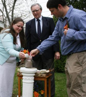 Cory and Dean's Sand Ceremony at their Groton, CT home wedding