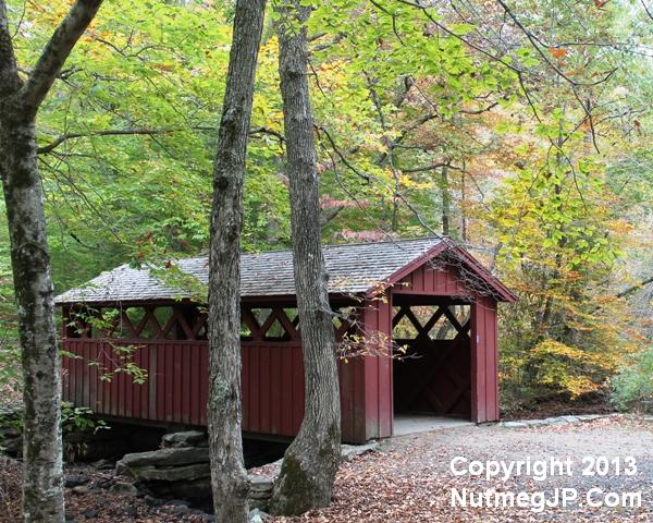 Elope at the covered bridge in Chatfield Hollow State Park.