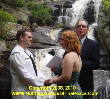 Katie and Brandon were married by the waterfalls in Devil's Hopyard