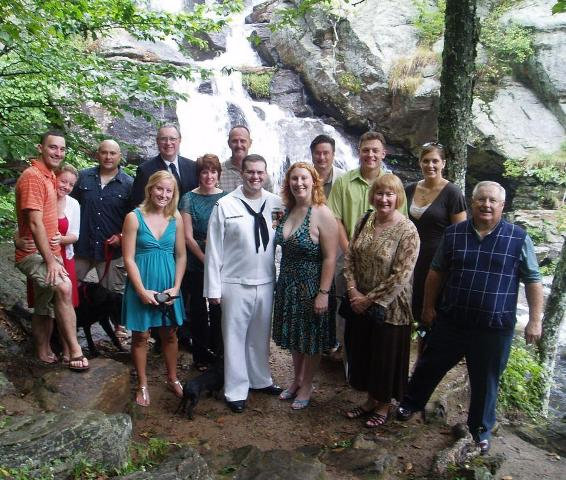 Group photo after the wedding at the waterfall in Devil's Hopyard in East Haddam, CT
