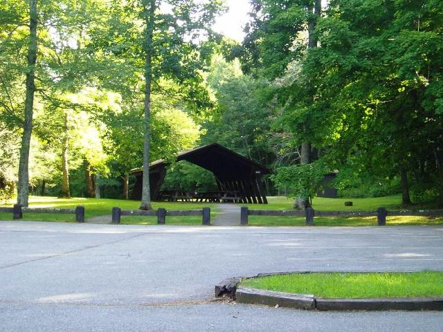 The shelter near the covered bridge in the Devil's Hopyard in East Haddam, CT