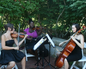 Divina Strings trio playing for a wedding at Harkness State Park. Visit their Site.