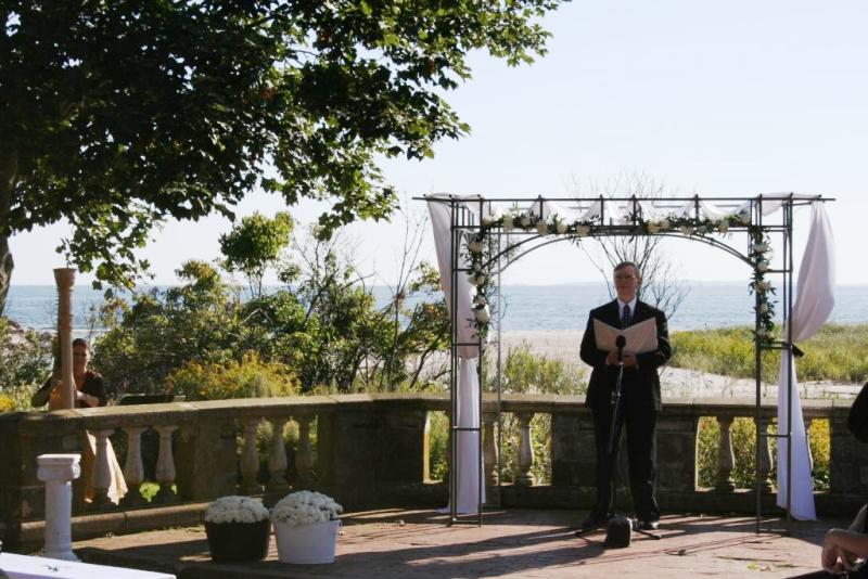 Allyn (the harpist) and Ernest await the oceanside wedding at Harkness Memorial State Park in Waterford, CT.