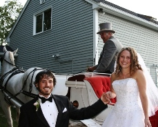 Even a home wedding can have a horse-drawn carriage.