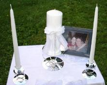 Jamie and John's unity candle, tapers, and symbolic guests