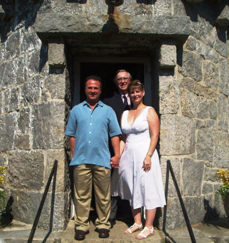 Kathleen, Michael, and Ernest after the wedding at Stonington Lighthouse Museum, in Stonington, CT