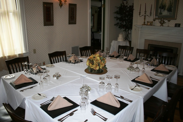 One of the smaller dining rooms is idea for a rehearsal dinner.