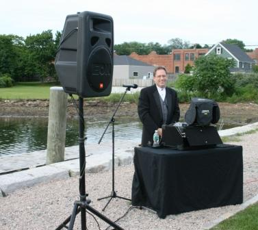 DJ Jim Hogan and just some of his equipment at the Mystic Seaport wedding.