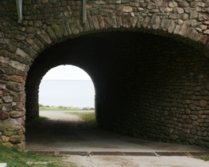 Rocky Neck wedding photos are often taken in the tunnel underneath the pavilion.