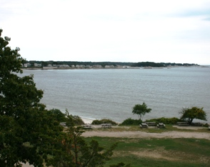 Looking East from the Rocky Neck pavilion terrace
