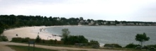 Rocky Neck State Park beach looking from the stone pavilion