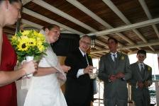 Jennifer and Kevin's shell ceremony aboard the Sabino