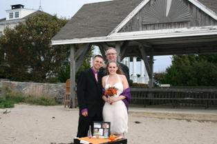 DuBoise Beach in Stonington, CT has a wooden pavilion