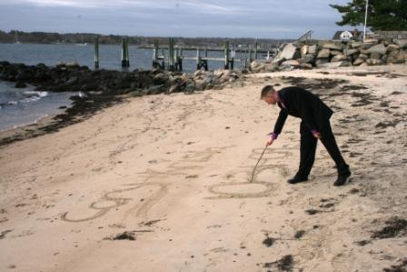 Love letter in the sand at duBois beach in Stonington Borough, CT