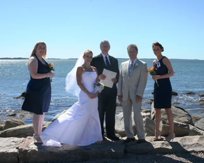 Donna and Brian, after their Stonington Point wedding